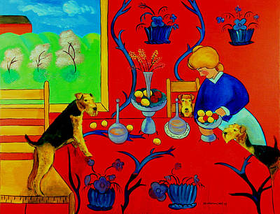 Airedale Terrier Painting - Harmony In Red Kitchen With Airedales After Matisse by Lyn Cook