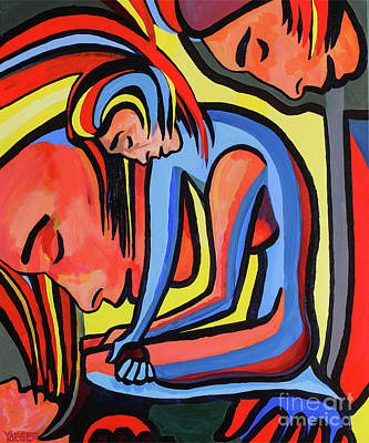 Harmony And The Emancipation Of Women Cubism Painting Original by Robert Yaeger