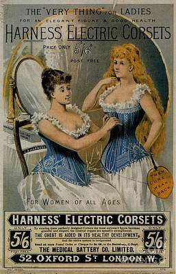 Drawing - Harness Electric Corsets Vintage Advert by R Muirhead Art