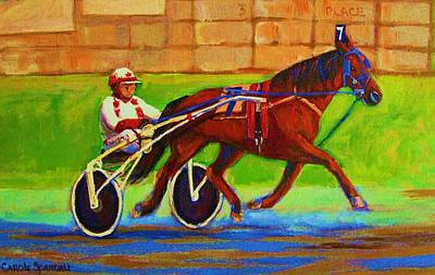 Kentucky Derby Painting - Harness Racing At Bluebonnets by Carole Spandau