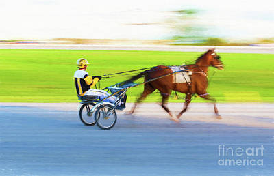 Photograph - Harness Racing - Painterly by Les Palenik