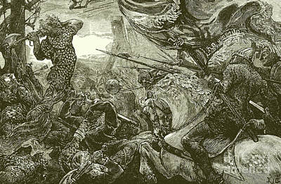 Knight Drawing - Harold At The Battle Of Hastings  by English School