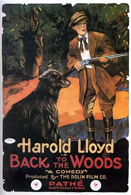 Aged Wood Drawing - Harold Lloyd In Back To The Woods 1919 by Mountain Dreams