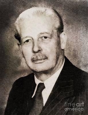 Harold Macmillan, Prime Minister United Kingdom By John Springfield Art Print