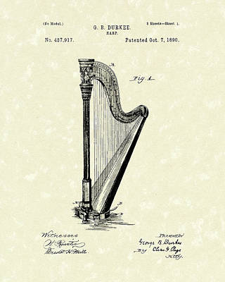 Musical Drawing - Harp 1890 Patent Art by Prior Art Design
