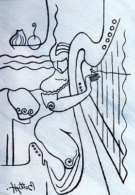 Abstract Forms Drawing - Harp And Its Player by Elisabeta Hermann