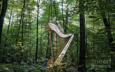 Harp In The Woods Print by Marvin Blaine