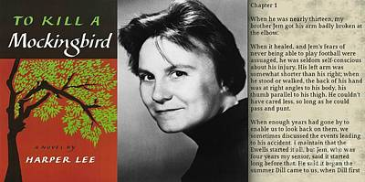 First Edition Digital Art - Harper Lee And To Kill A Mockingbird Montage by John Malone