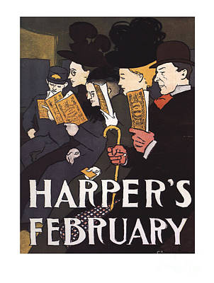 Painting - Harpers February Vintage Magazine by R Muirhead Art