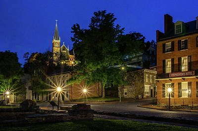 Harpers Ferry At Night Art Print by Robert Powell