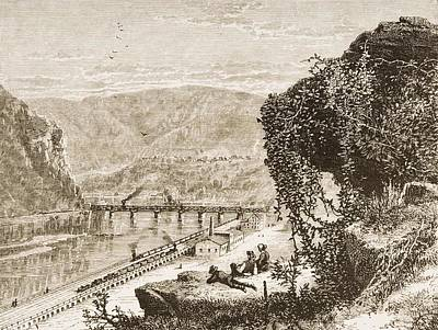 Stonewall Jackson Drawing - Harpers Ferry Circa 1870s. From by Vintage Design Pics