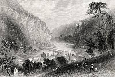 Stonewall Jackson Drawing - Harpers Ferry From The Potomac Side by Vintage Design Pics
