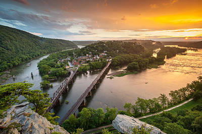 Appalachian Wall Art - Photograph - Harpers Ferry National Historical Park Maryland Heights Sunset by Mark VanDyke