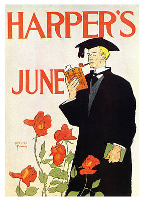 Granger Royalty Free Images - Harpers Magazine - June - Magazine Cover - Vintage Advertising Poster Royalty-Free Image by Studio Grafiikka