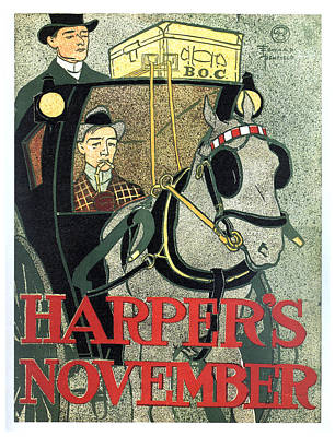 Royalty-Free and Rights-Managed Images - Harpers Magazine - Magazine Cover - November - Vintage Art Nouveau Poster by Studio Grafiikka