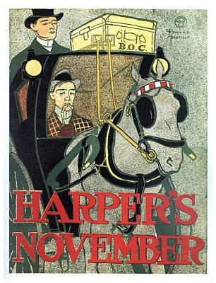 Mixed Media - Harper's Magazine - Magazine Cover - November - Vintage Art Nouveau Poster by Studio Grafiikka