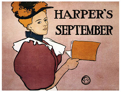 Royalty-Free and Rights-Managed Images - Harpers Magazine - Magazine Cover - September - Vintage Art Nouveau Poster by Studio Grafiikka