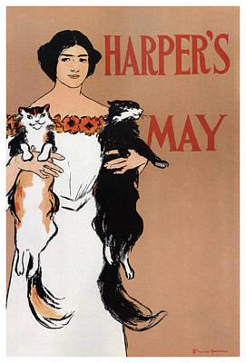 Mixed Media - Harper's Magazine - Magazine Cover - Vintage Art Nouveau Poster by Studio Grafiikka