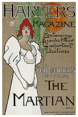 Popstar And Musician Paintings - Harpers Magazine - The Martian - Vintage Art Nouveau Poster by Studio Grafiikka
