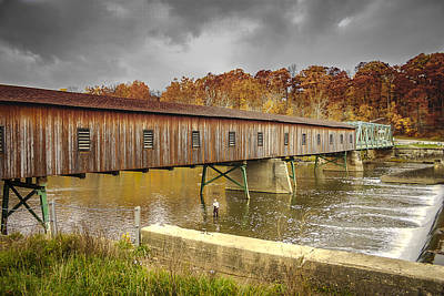 Music Royalty-Free and Rights-Managed Images - Harpersfield Rd Covered Bridge  by Jack R Perry