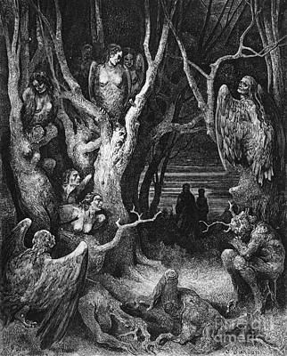 Fantasy Tree Drawing - Harpies by Gustave Dore