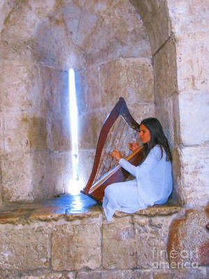 Digital Art - Harpist Jerusalem by Donna L Munro