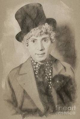 Musicians Drawings Rights Managed Images - Harpo Marx, Comedy Legend Royalty-Free Image by John Springfield