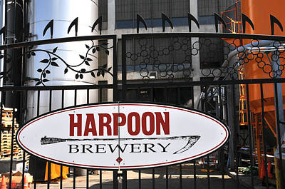 Photograph - Harpoon Brewery Sign On Gate by Mike Martin