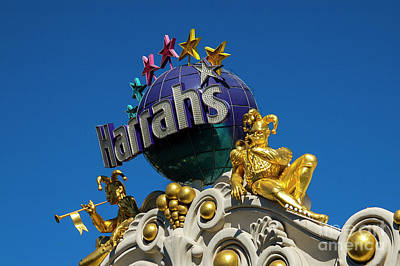 Photograph - Harrah's Casino Sign On The Las Vegas Strip by Paul Warburton