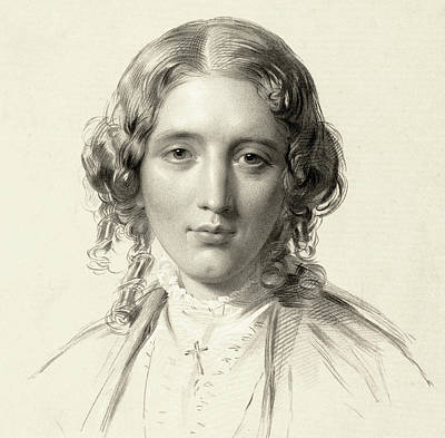 Girl Face Drawing - Harriet Beecher Stowe by Francis Holl