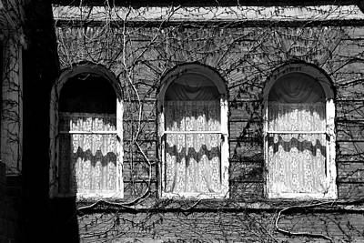 Photograph - Harrington Inn Windows Bw by Mary Bedy