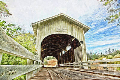 Harris Covered Bridge - Digital Painting Art Print