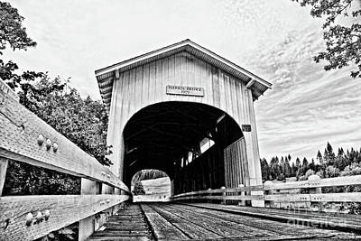 Harris Covered Bridge - Surreal Bw Art Print