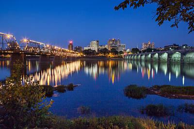 Photograph - Harrisburg, Pa Bridges At Night by John Daly