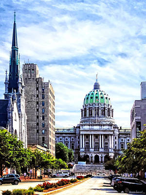 Harrisburg Pa - Capitol Building Seen From State Street Art Print