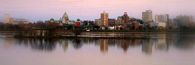 Susquehanna River Photograph - Harrisburg Riverfront At Dusk - Panoramic by Debra Straub