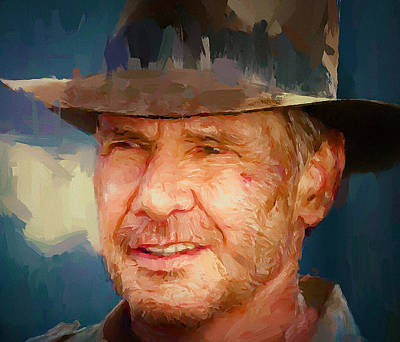 Digital Art - Harrison Ford Indiana Jones Portrait 1 by Yury Malkov