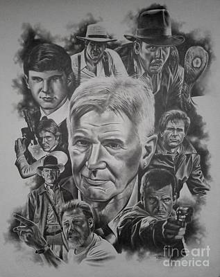 Raiders Drawing - Harrison Ford by James Rodgers