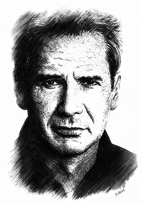 Drawing - Harrison Ford Sketch Edit by Andrew Read