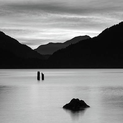 Harrison Hot Springs Wall Art - Photograph - Harrison Lake Bw Sunset by Michael Russell