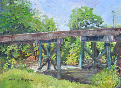 Painting - Harrison Park Bridge-ellijay River - Sun Peeking Under by Jan Dappen
