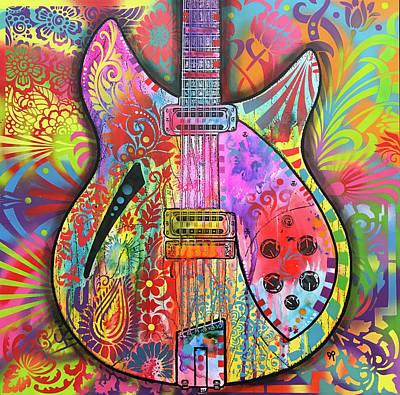 George Harrison Wall Art - Painting - Harrison Rickenbacker by Dean Russo Art