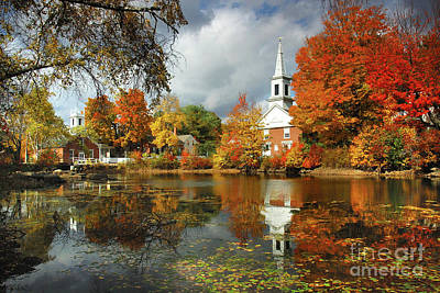 New England Fall Foliage Photograph - Harrisville New Hampshire - New England Fall Landscape White Steeple by Jon Holiday
