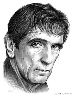 Musicians Drawings - Harry Dean Stanton by Greg Joens