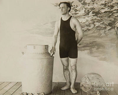 Conjurer Photograph - Harry Houdini About To Perform The Great Milk Can Escape by American School