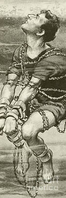 Tied-up Painting - Harry Houdini, Handcuffed And In Chains, Underwater by English School