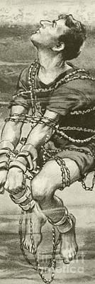 Harry Houdini, Handcuffed And In Chains, Underwater Art Print