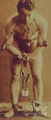 Harry Houdini In Chains Art Print