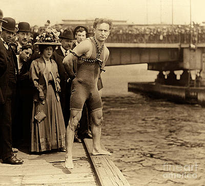 Harry Houdini In Chains, New York Harbor Art Print