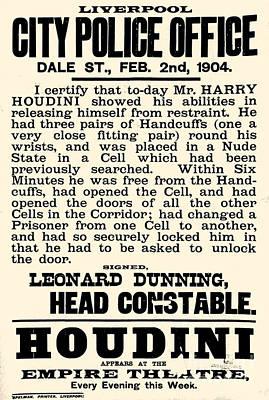Harry Houdini Police Statement, 1904 Art Print
